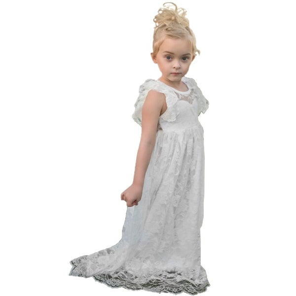 47c0d88573d39 Shop Little Girls White Lace Angel Sleeve Open Back Bow Flower Girl Dress -  Free Shipping Today - Overstock - 23140482