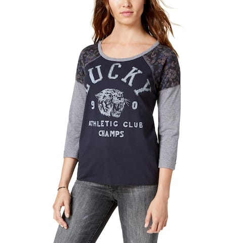 Lucky Brand Womens Pullover Top Printed Three-Quarter Sleeves
