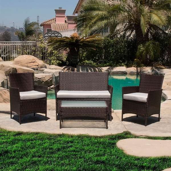 BELLEZE 4 Piece Rattan Outdoor Patio Set 4 PC Furniture Outdoor Set Two  Chairs One Glass