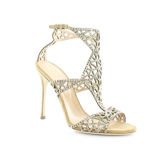 Sergio Rossi Tresor Women's Heels Honey Crystal Metallic Light Gold - 7.5