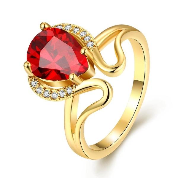 Swirl Design Gold Gemstone Ring