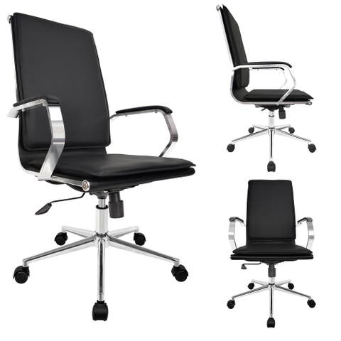 Designer Office Chair with Arms Cushion Back Seat Executive with Wheels Chrome Swivel Boss Tilt Home Conference Room