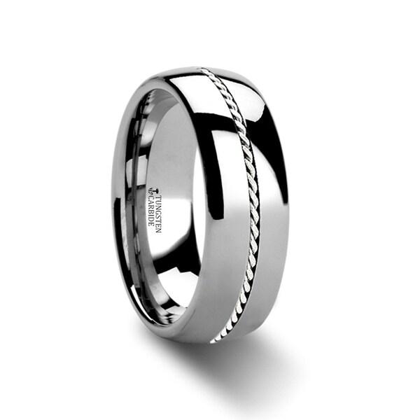 THORSTEN - PHYTHEON Braided Platinum Inlay Domed Tungsten Ring