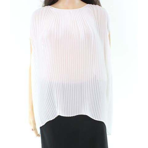 Halston Pleated Sheer Womens Large Tank Cami Keyhole Top