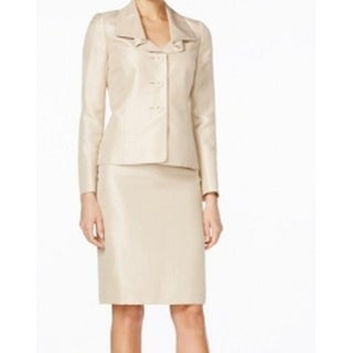 Le Suit NEW Beige Shimmer Women's Size 6 Ruffle Collar Skirt Suit Set