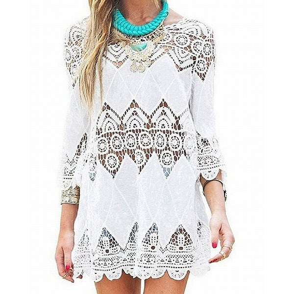 e824536c78 Shop NFASHIONSO White Women's Size Small S Crochet Tunic Cover-Up Swimwear  - Free Shipping On Orders Over $45 - Overstock.com - 26899638