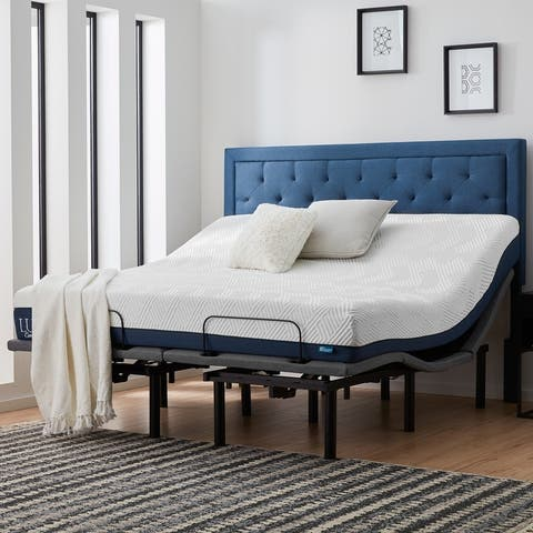 Lucid Comfort Collection 10-inch Gel & Aloe Vera Hybrid Mattress and Deluxe Adjustable Bed Set