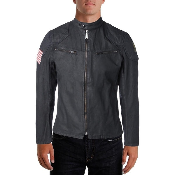 2aae82ffa Shop Denim   Supply Ralph Lauren Mens Motorcycle Jacket Waxed Canvas  Graphic - M - Free Shipping Today - Overstock - 19527983