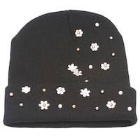 Winter Fashion Floral Studded Cuffed Beanie