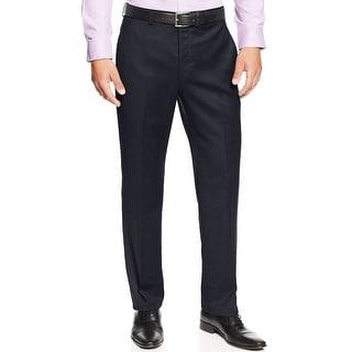 Ralph Lauren Big and Tall Wool Flannel Flat Front Dress Pants Navy 42 x 32