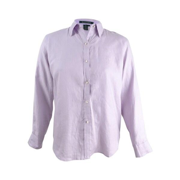4dcdc3fa95da Shop Lauren Ralph Lauren Women s Striped Collar Button Down Shirt (L ...