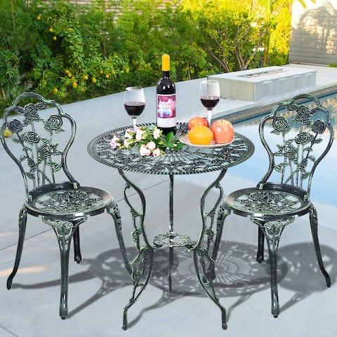 Costway Patio Furniture Cast Aluminum Rose Design Bistro Set Antique