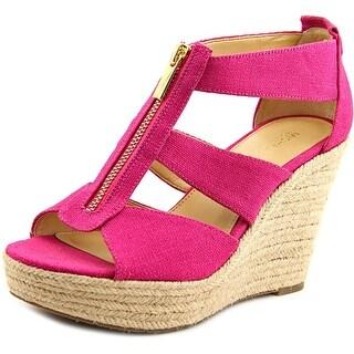 Michael Michael Kors Damita Wedge Open Toe Canvas Wedge Sandal