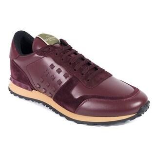 Valentino Mens Burgundy Suede Insert Leather Rockrunner Sneakers