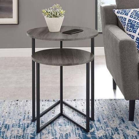 Silver Orchid V-Leg Nesting Side Table Set