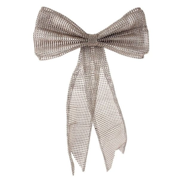 """19"""" Glamour Time Champagne Rhinestone Mesh Bow Commercial Sized Christmas Ornament - GOLD"""