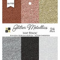 """Dcwv Single-Sided Cardstock Stack 6""""X6"""" 24/Pkg-Glitter Metallics Solid, 6 Colors/4 Each"""
