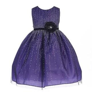 Crayon Kids Little Girls Purple Velvet Flower Sash Sequin Christmas Dress 2T-6