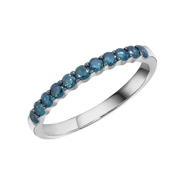 Prism Jewel 0.50CT Round 2.20MM Blue Color Diamond Wedding Band