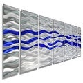 Statements2000 Blue / Silver Modern Abstract Metal Wall Art Painting by Jon Allen - Caliente Blue - Thumbnail 0