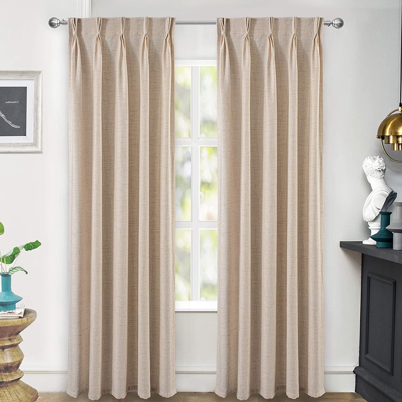 Driftaway Pinch Pleat Linen Blend Semi Sheer Solid Curtains Back Tabs Overstock 32511832
