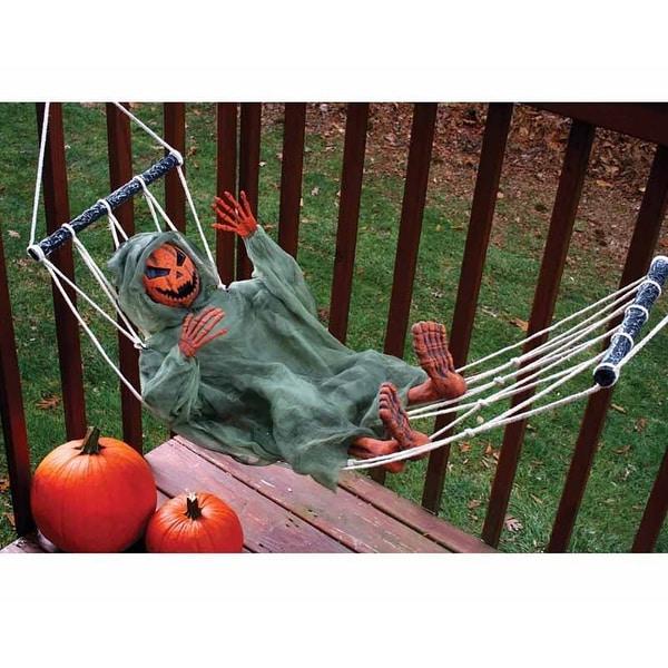 "Lazy Bones Pumpkin Man in 64"" Hammock Halloween Décor"