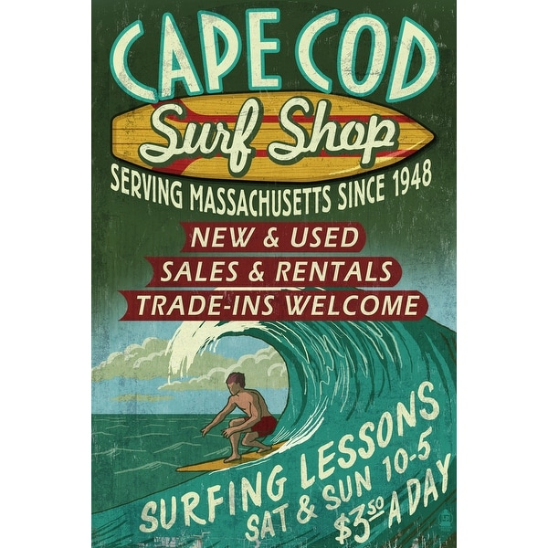 Cape Cod, MA - Surf Shop Vintage Sign - LP Artwork (100% Cotton Towel Absorbent)