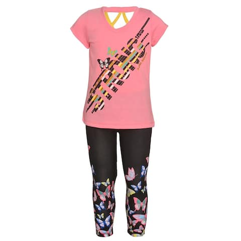 "Little Girls Coral Butterfly ""Strong"" Letter Print 2 Pc Legging Outfit"