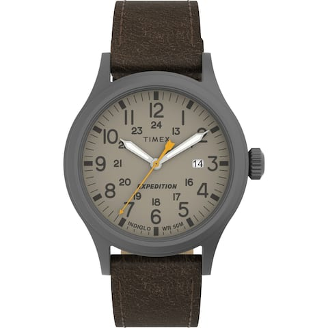 Timex Men's Expedition Scout 40mm Watch - Gunmetal Case Khaki Dial with Dark Brown Leather Strap