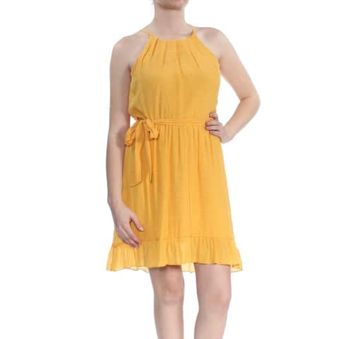 BCX Yellow Sleeveless Above The Knee Fit + Flare Dress Size M