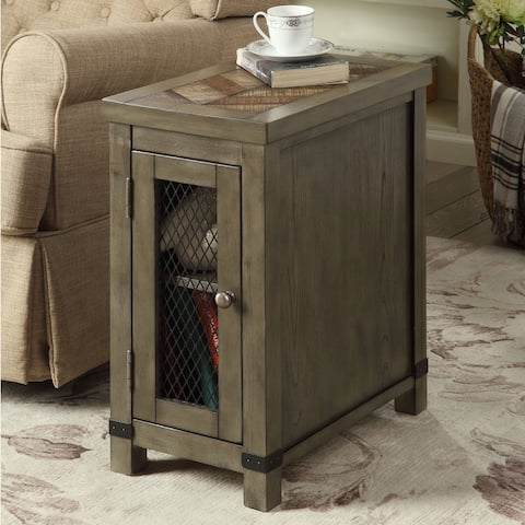 Furniture of America Nate Rustic Grey Wood 2-shelf Side Table