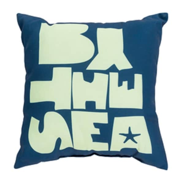 "18"" Cobalt Blue and Mint Green ""BY THE SEA"" Square Pillow Shell"