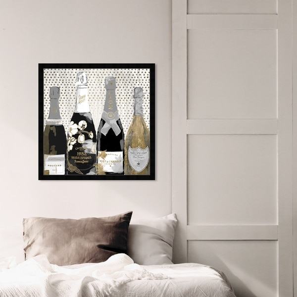 Oliver Gal 'Pass the Bottle Night' Drinks and Spirits Framed Wall Art Prints Champagne - Black, Gold. Opens flyout.
