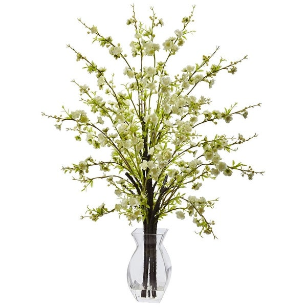 Nearly Natural Home Decor Cherry Blossom in Glass Vase - White