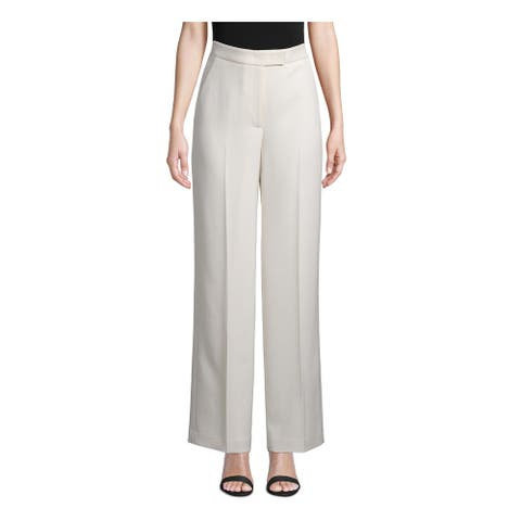 ANNE KLEIN Womens Ivory Ribbed Wide Leg Wear To Work Pants Size 6
