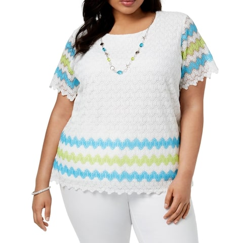 Alfred Dunner Womens Top White Blue Green Size 1X Plus Crochet Lace