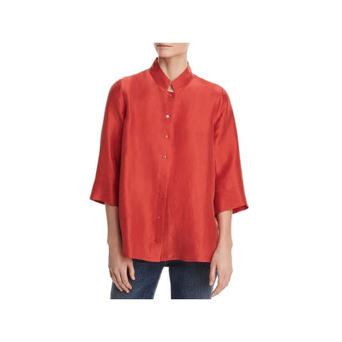 Eileen Fisher Womens Blouse 3/4 Sleeves Button Down