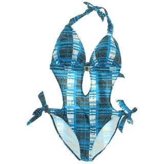 Le Besi Womens Halter Printed Monokini Swimsuit - M