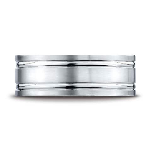 Platinum 8mm Comfort-fit Satin-finished with Parallel Grooves Carved Design Band
