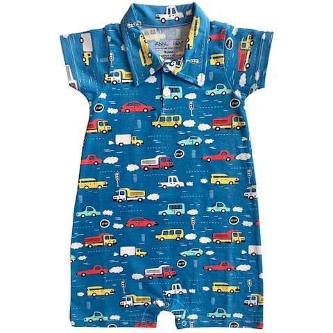 AnnLoren Automobile Cars Trucks Spring Collar Baby Boys Romper Toddler Jumpsuit Bodysuit