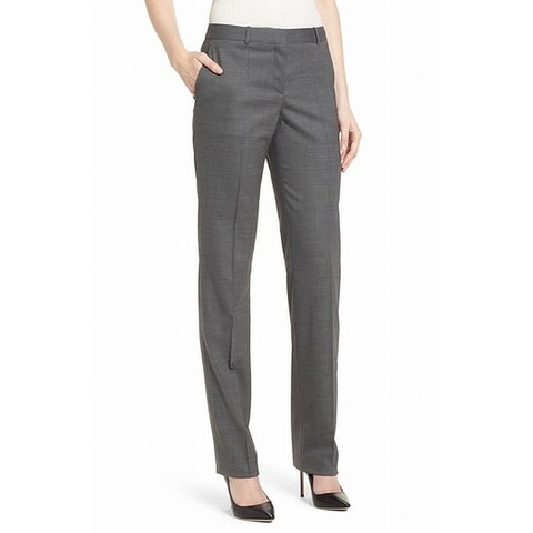 Hugo Boss Gray Womens Size 2 Micro Dot Flat Front Stretch Pants