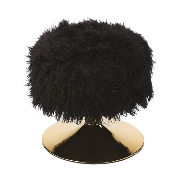 Offex Modern Black Polyester Blend Faux Fur Round Stool