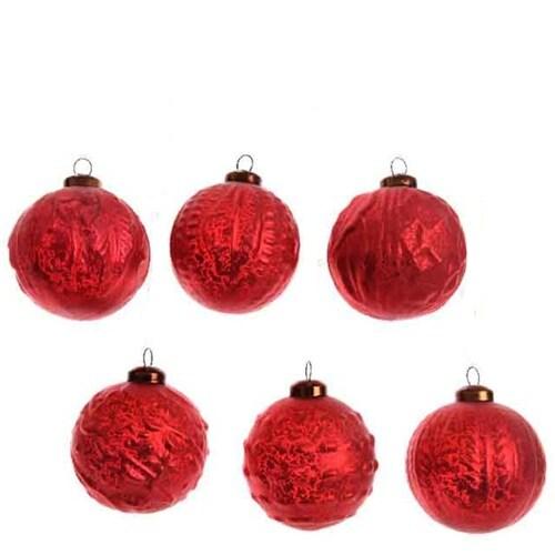 Red Glass Balls Set of 6