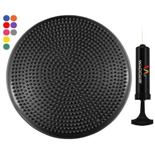 "Wacces 13"" Athletic Inflatable Massage Balance Stability Fitness Cushion Disc to Improve Balance & Flexibility, Black"
