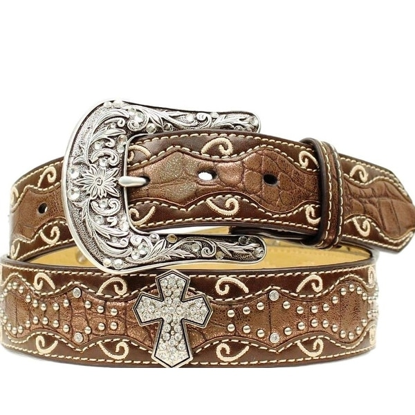 Ariat Western Belt Womens Inlay Scallop Cross Conchos Brown