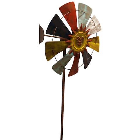 Alpine 71-Inch Sun Face Windmill Stake Kinetic Spinner, Multicolor