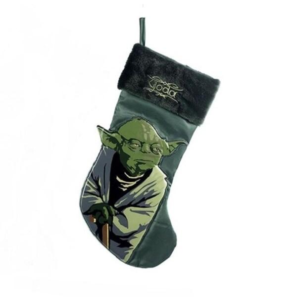 "19"" Green Star Wars Yoda Applique Christmas Stocking"