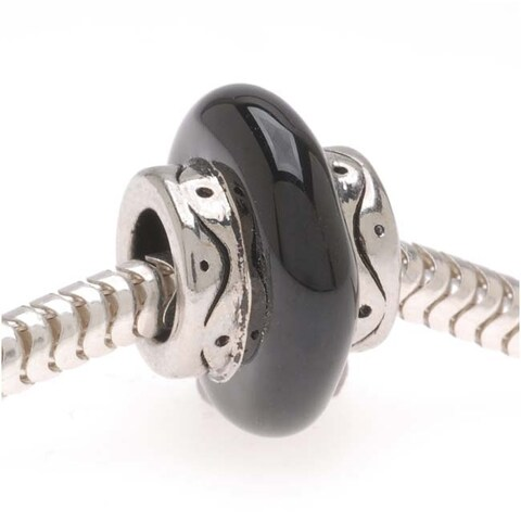 Silver Tone With Black Enamel Center - European Style Large Hole Bead (1)