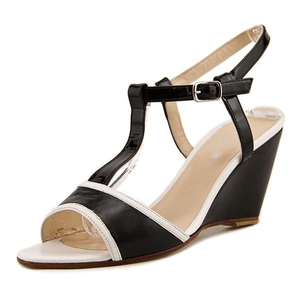 WO Milano 7431 Women Open Toe Leather Black Sandals