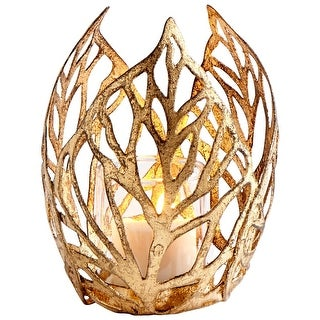 Cyan Design 09050 Sunrise Flame 2 Piece Glass and Iron Decorative Candle Holder - Antique Gold - N/A